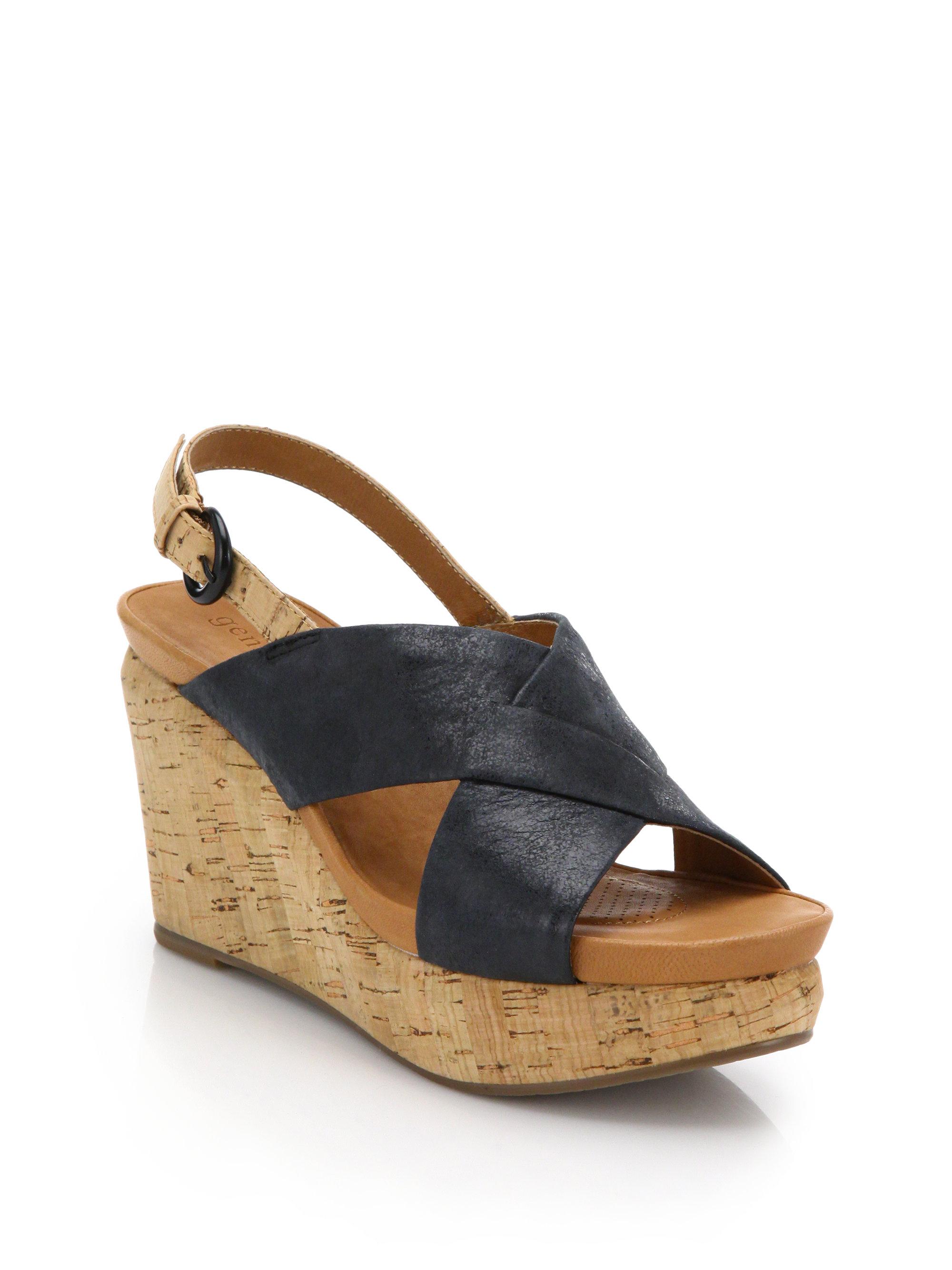 gentle souls leather cork wedge sandals in black lyst