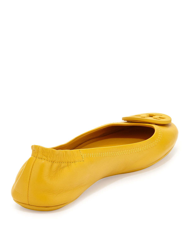 4eac8a427716 ireland tory burch minnie travel ballet flats 10 sunshine yellow 022af  41d24  wholesale tory burch minnie leather travel flat in orange lyst 6dd4b  7bbc1