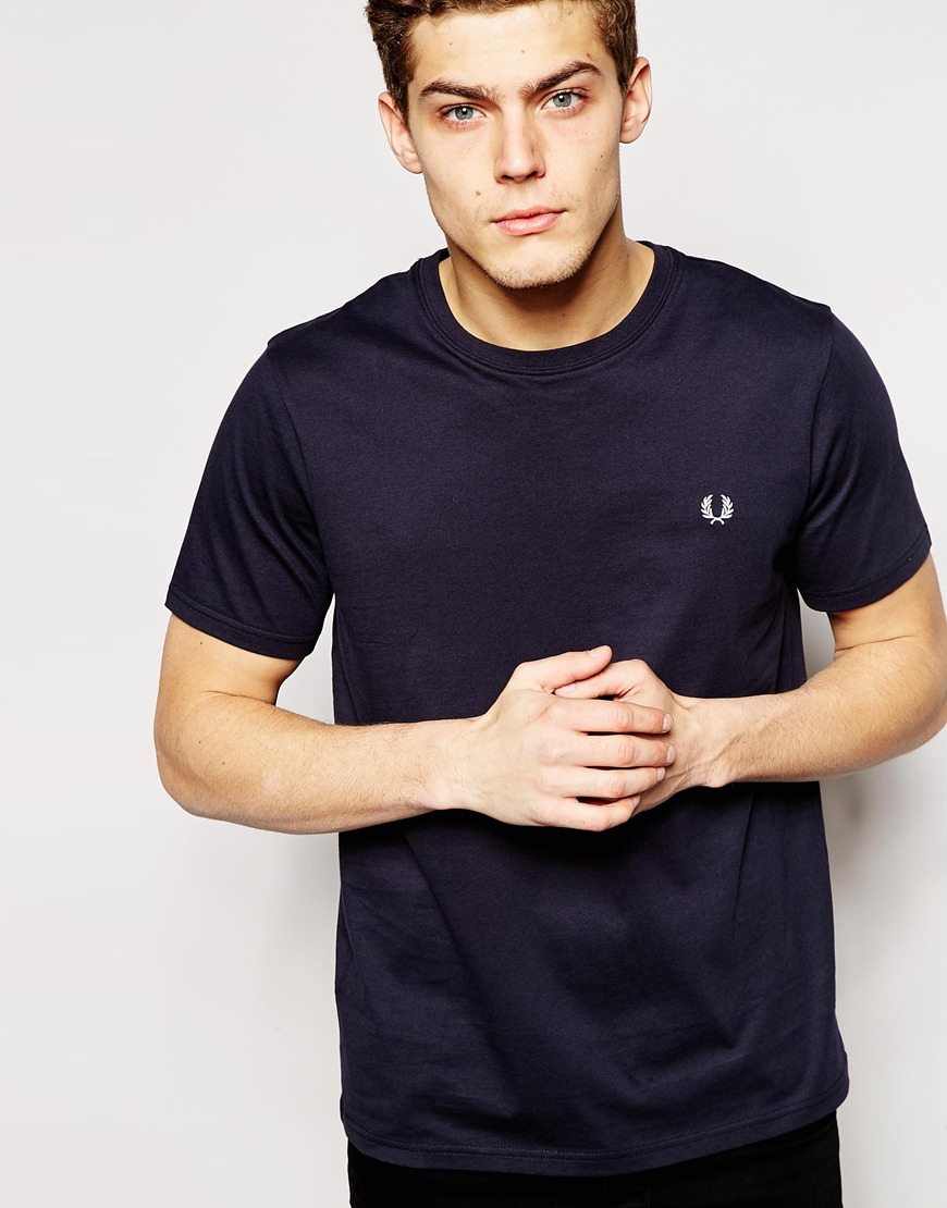 fred perry t shirt with crew neck in blue for men lyst. Black Bedroom Furniture Sets. Home Design Ideas