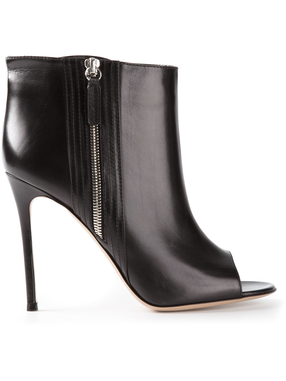 Gianvito Rossi Peep Toe Ankle Boots in Black