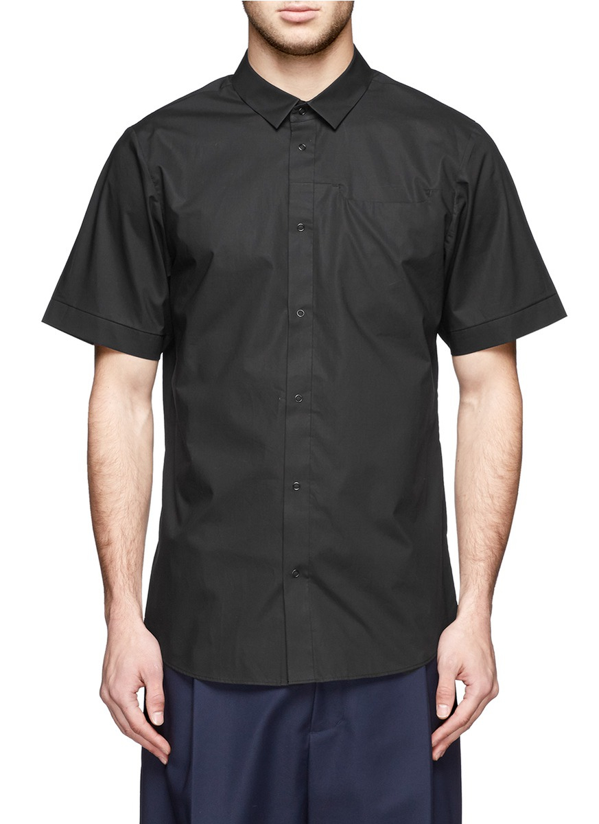 Alexander wang snap button shirt in black for men lyst for Mens shirts with snaps instead of buttons