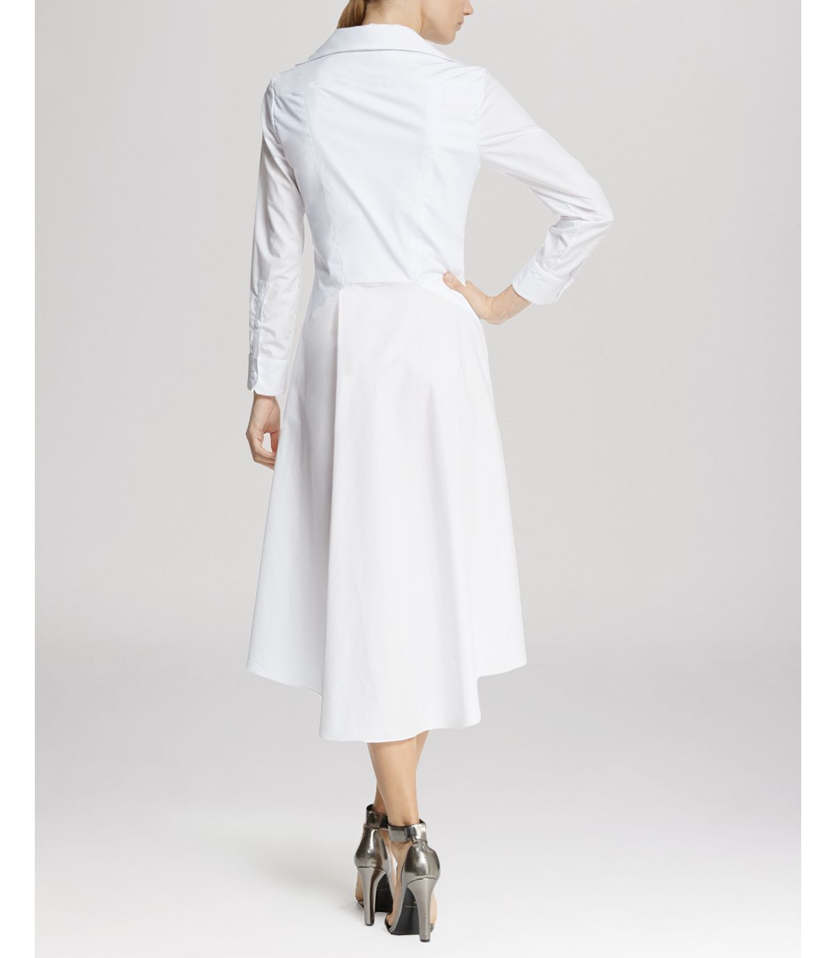 dress high low skirt shirt in white lyst