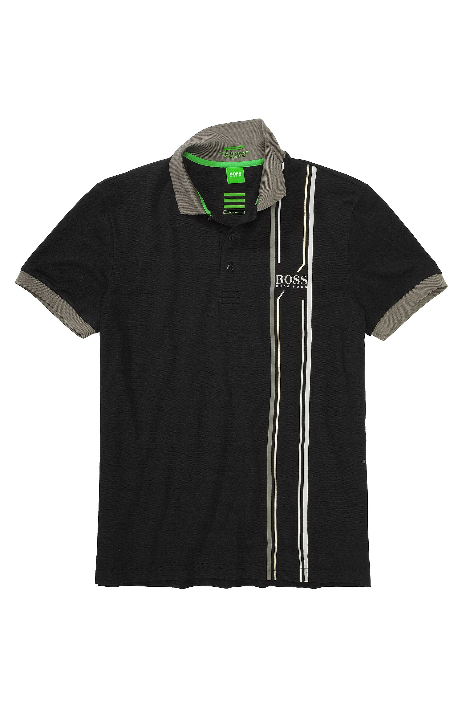 Boss green slim fit golf polo shirt 39 paule pro 39 in black for Slim fit golf shirts
