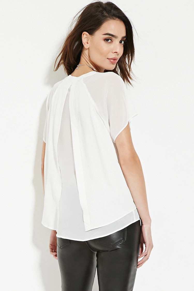 21 Best Grow Your Tarot Business Online Images On: Forever 21 Contemporary Split-back Top In White