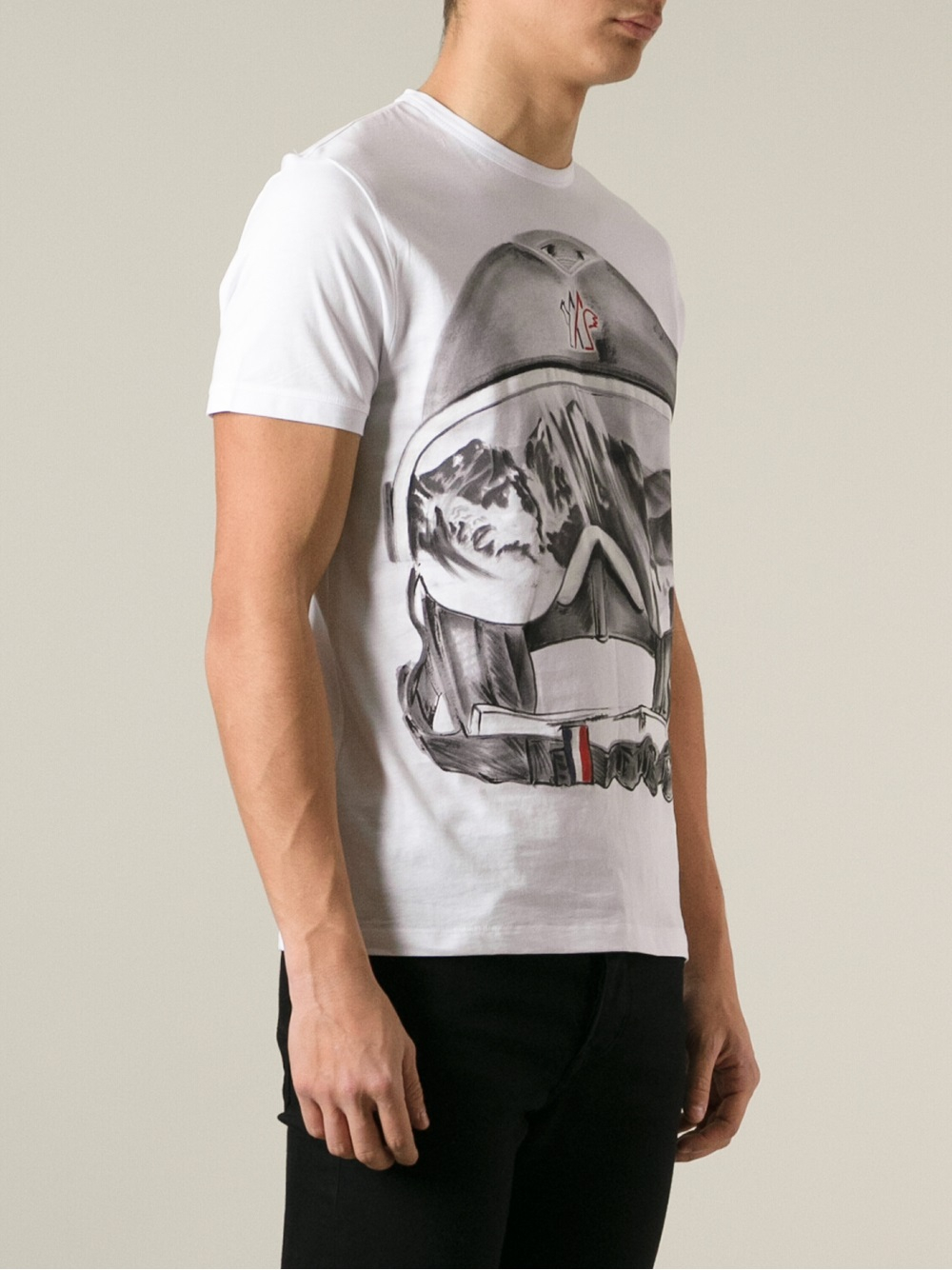 lyst moncler ski helmet print tshirt in white for men. Black Bedroom Furniture Sets. Home Design Ideas