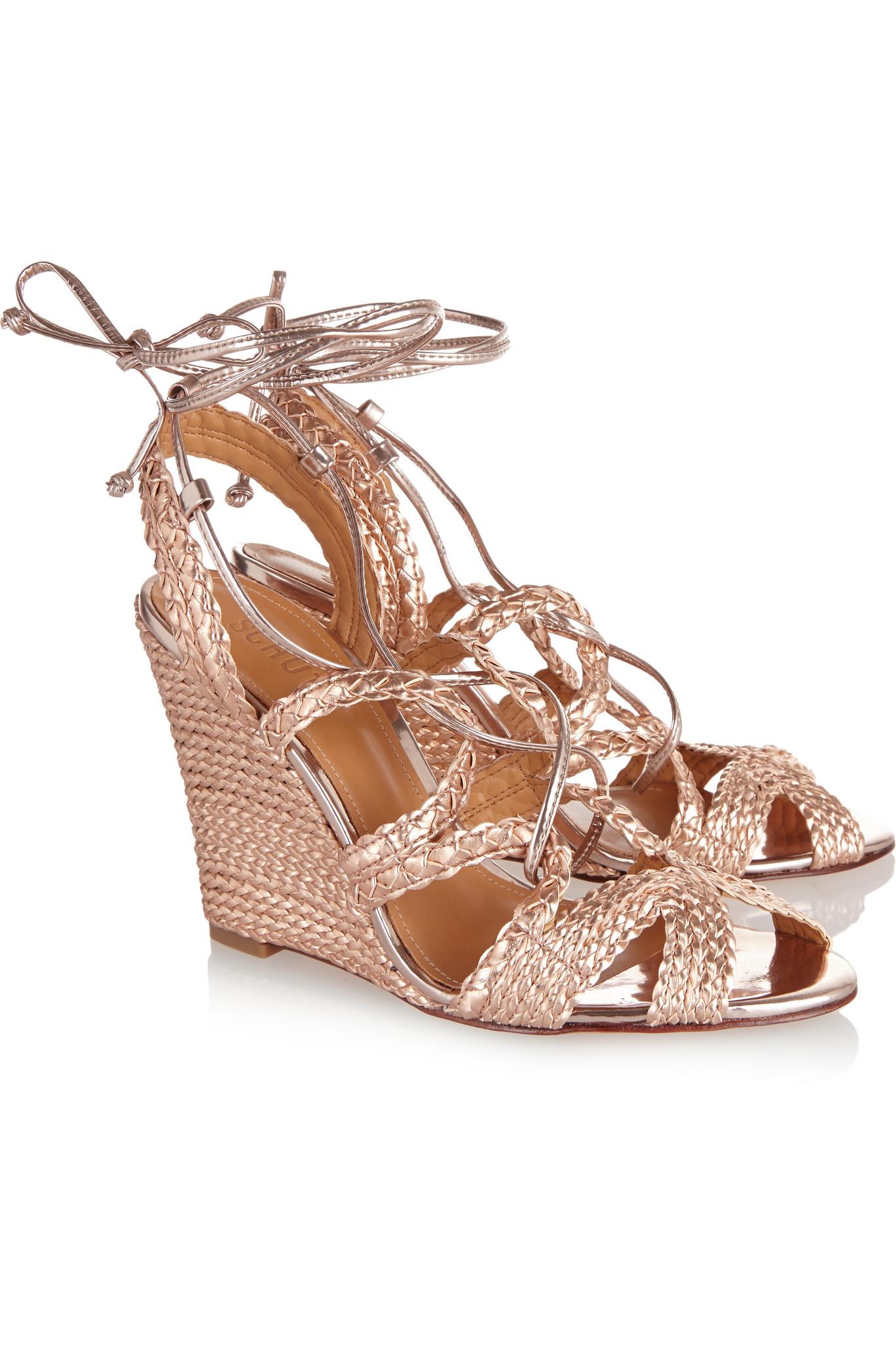 Schutz Woven Metallic Leather Wedge Sandals In Rose Gold