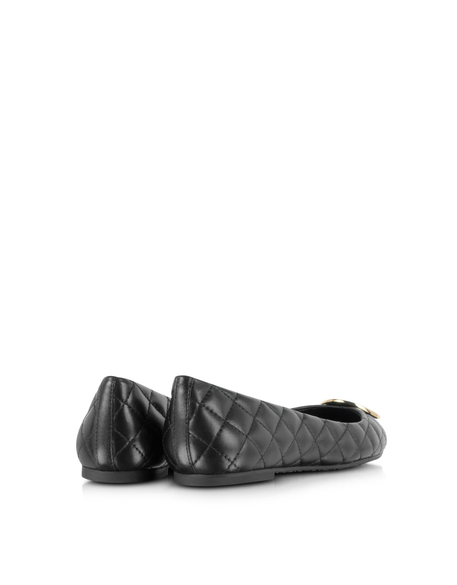 7bc099a2c06f Lyst - Tory Burch Quinn Black Quilted Flat W logo in Black