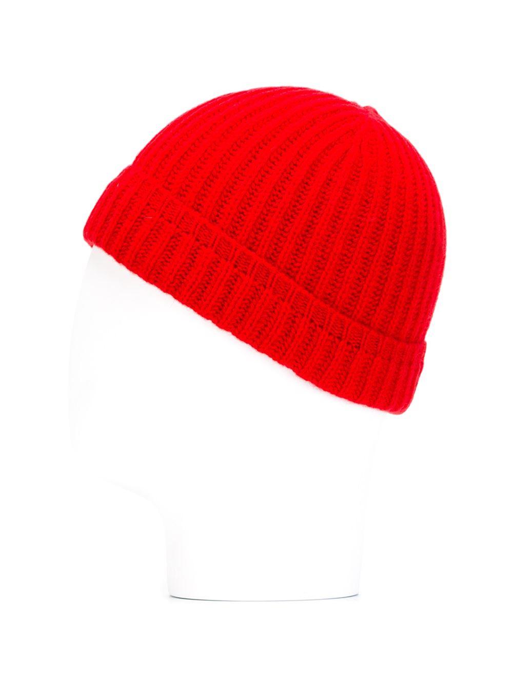 e92848125c9 Maison Kitsuné Ribbed Beanie Hat in Red for Men - Lyst
