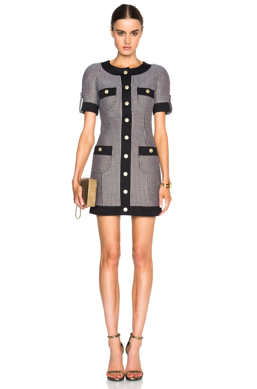 Lyst Balmain Button Front Mini Dress In Black