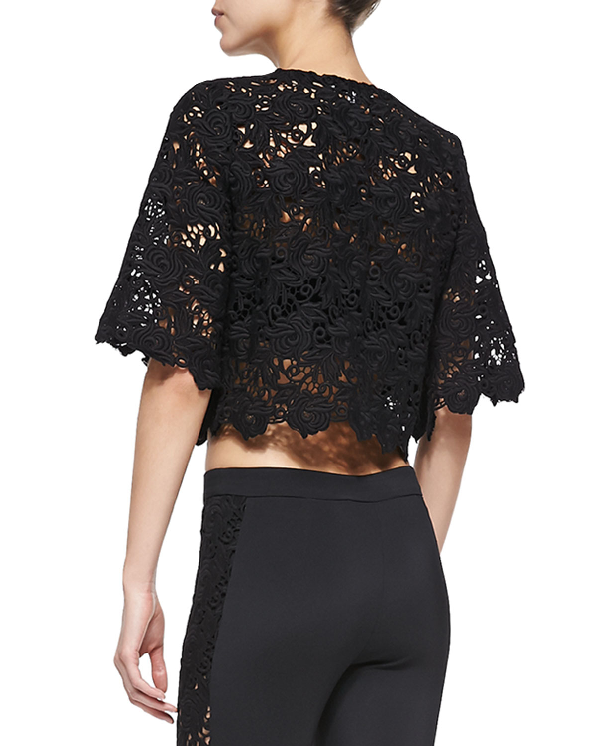 548d8a62247 Alexis Sicily Half-Sleeve Lace Crop Top in Black - Lyst