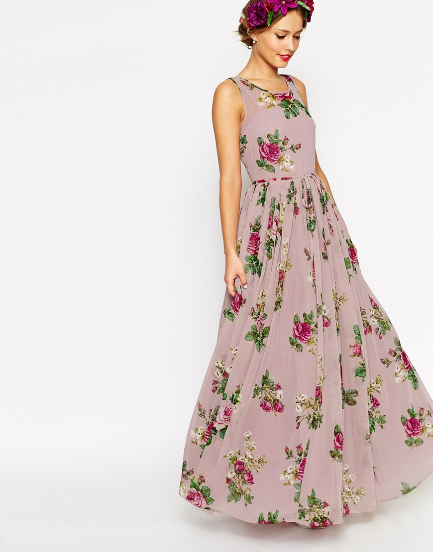 Asos wedding super full maxi dress in floral print in pink for Print maxi dress for wedding