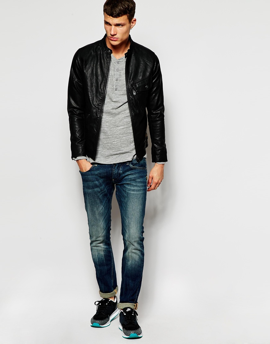 lyst g star raw g star jacket defend faux leather slim fit zip front in black for men. Black Bedroom Furniture Sets. Home Design Ideas