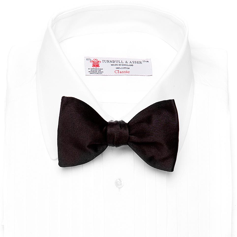 turnbull asser black satin bow tie in black for lyst