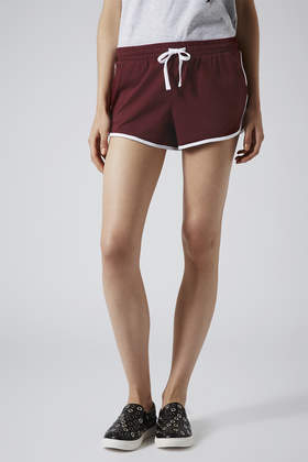 Topshop Contrast Sport Seam Runner Shorts in Red | Lyst