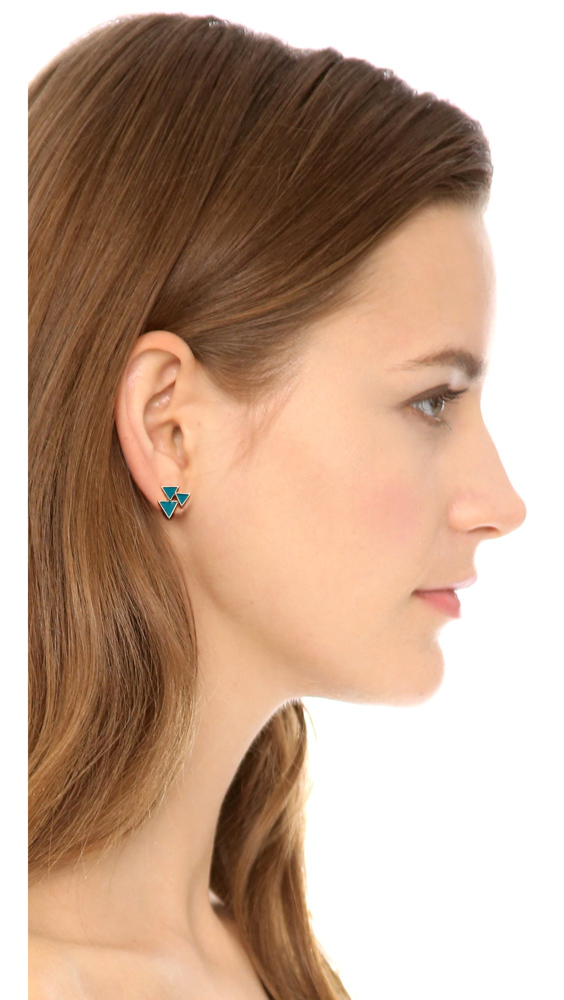 House of Harlow 1960 Tessellation Stud Earring Set - Gold/Black in Gold/Turquoise (Metallic)