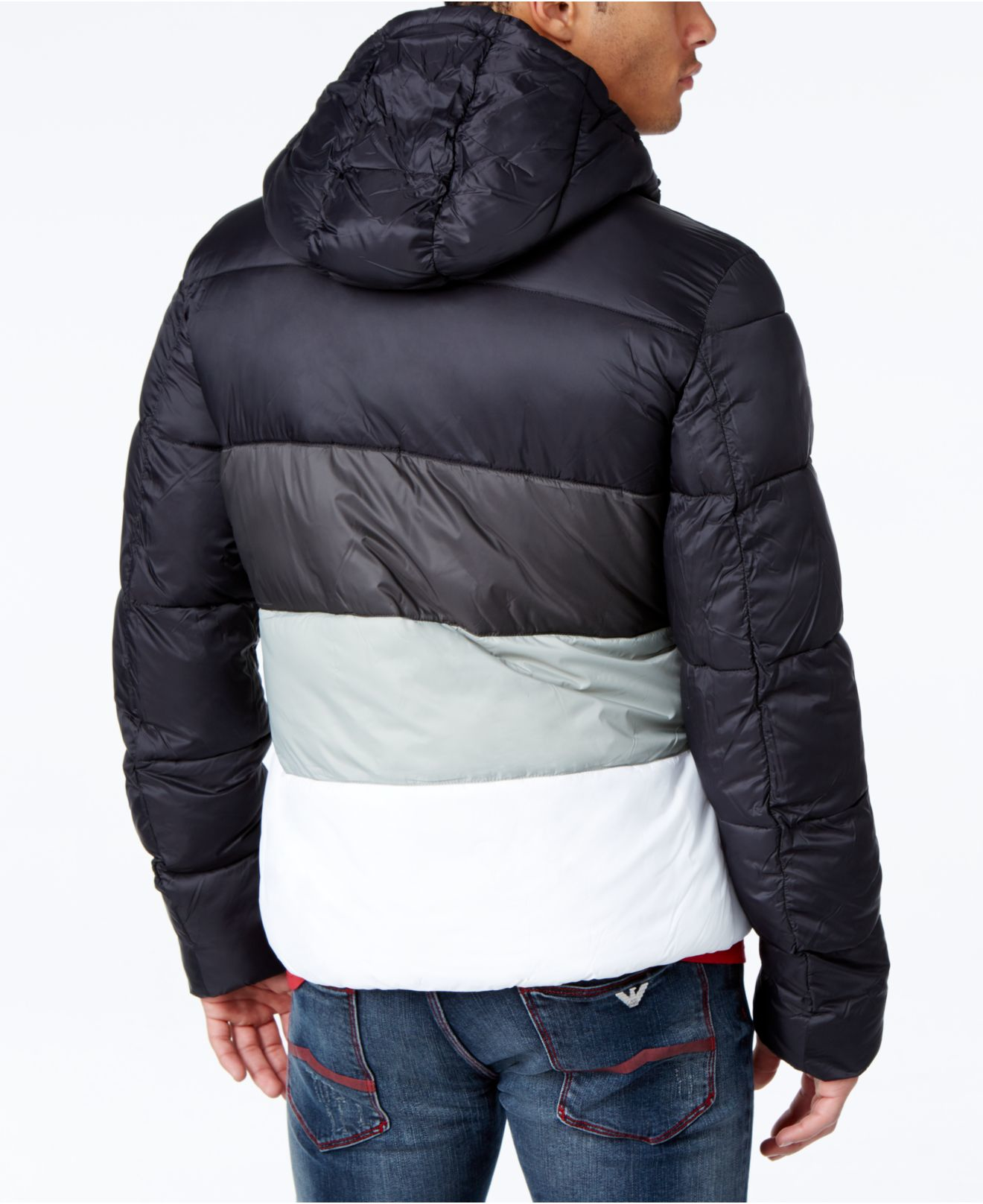 Lyst Armani Jeans Colorblock Puffer Coat With Hood In