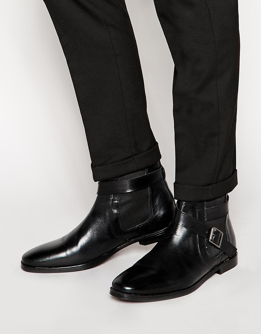 Lyst Asos Buckle Chelsea Boots In Leather In Black For Men