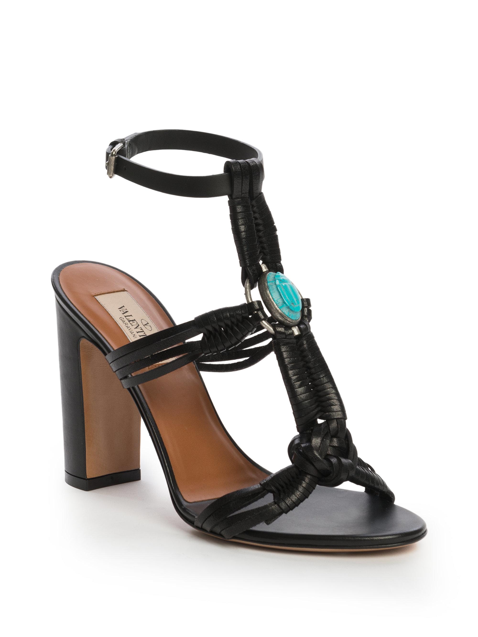 0c8f3bfc34c6 Lyst - Valentino Braided Leather Scarab Sandals in Black