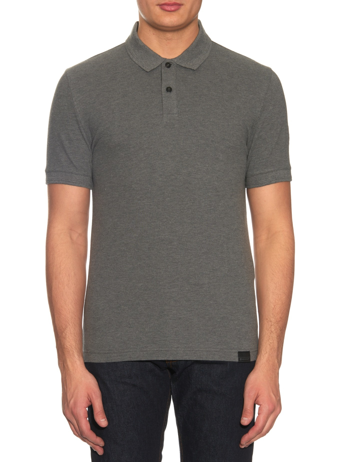 Lyst belstaff pearce cotton piqu polo shirt in gray for men for Cotton on polo shirt