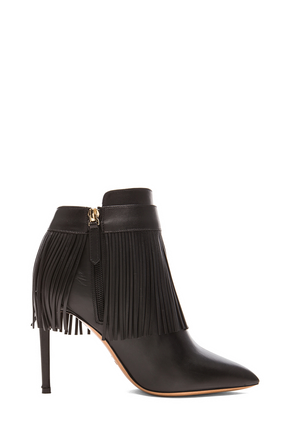 valentino rockee fringe leather ankle boots in black lyst