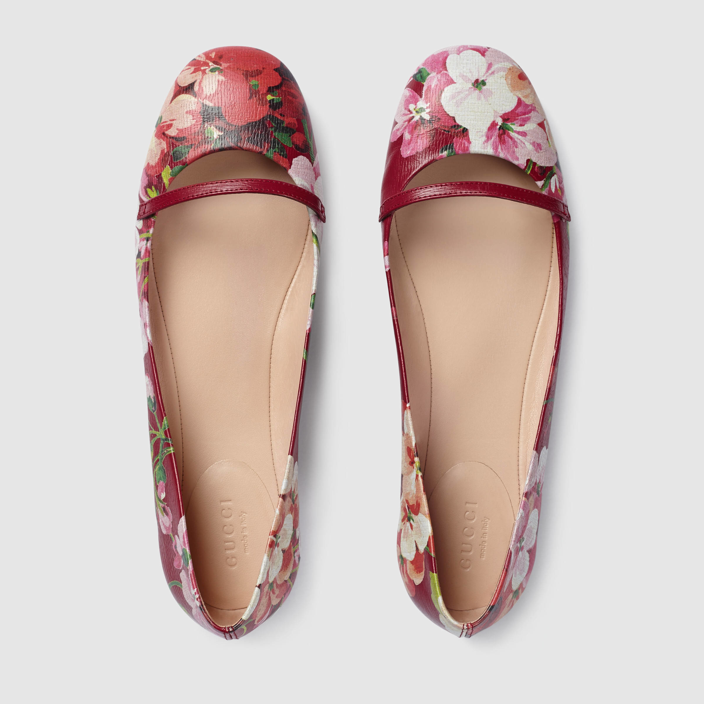 Gucci Blooms Leather Flat in Red (cerise leather) | Lyst
