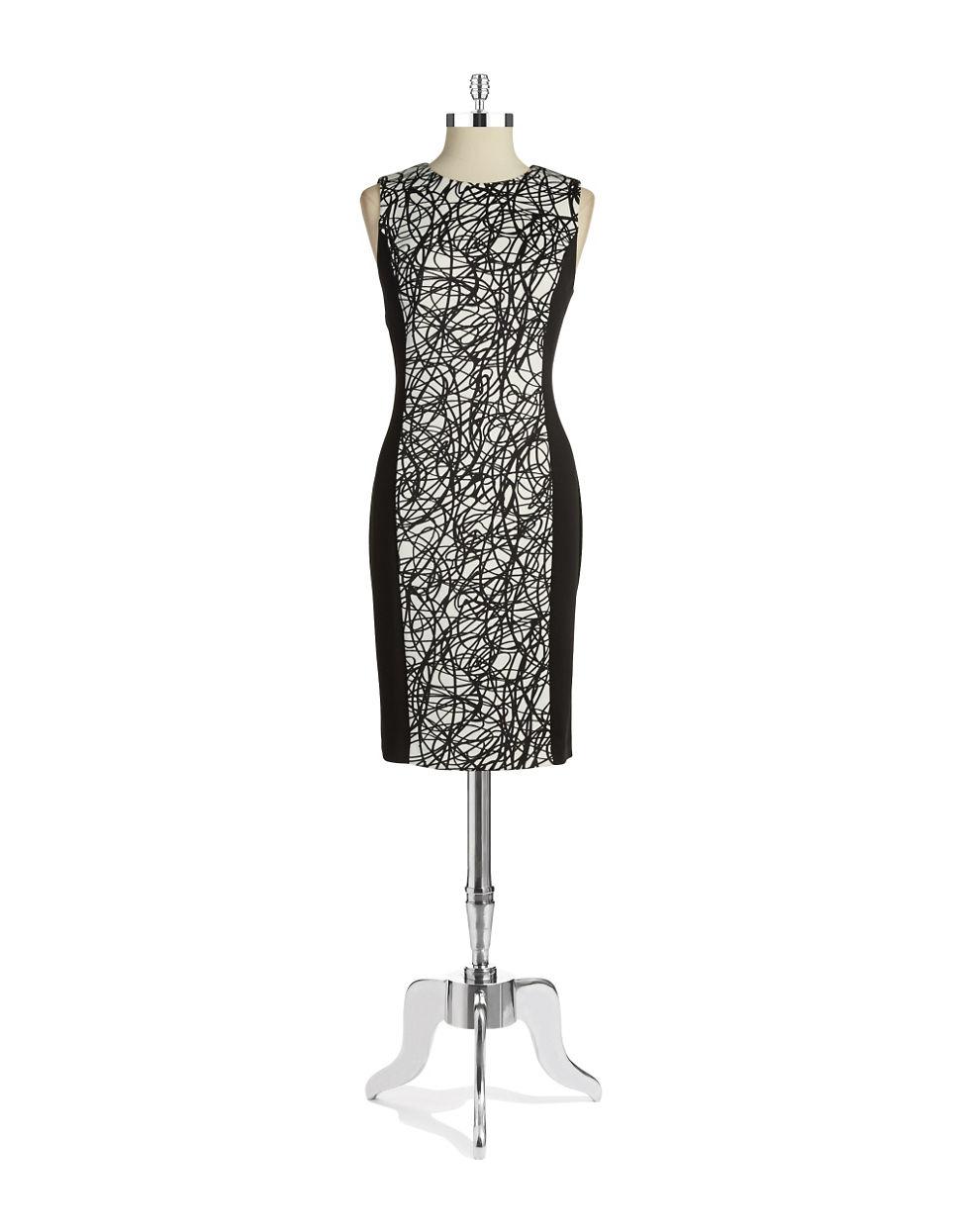 calvin klein colorblocked sheath dress in black string. Black Bedroom Furniture Sets. Home Design Ideas
