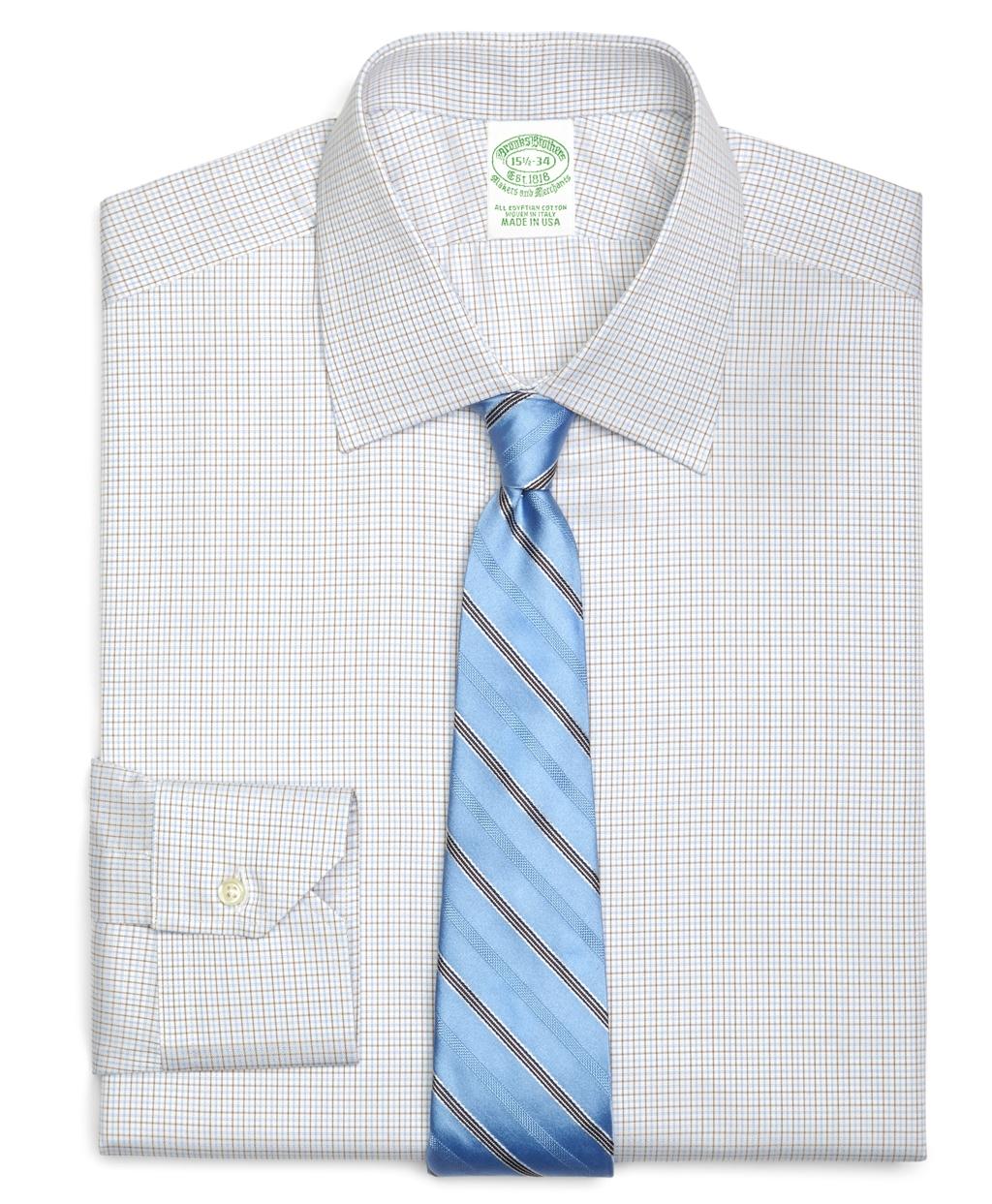 Brooks brothers regular fit small tattersall dress shirt for Brooks brothers dress shirt fit guide