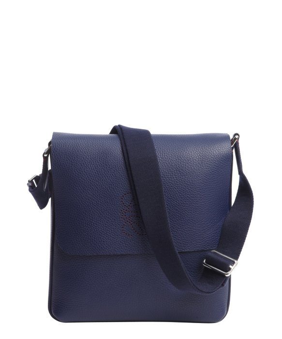 ... Navy Blue Calfskin Logo Detail Messenger Bag in Blue for Men (navy
