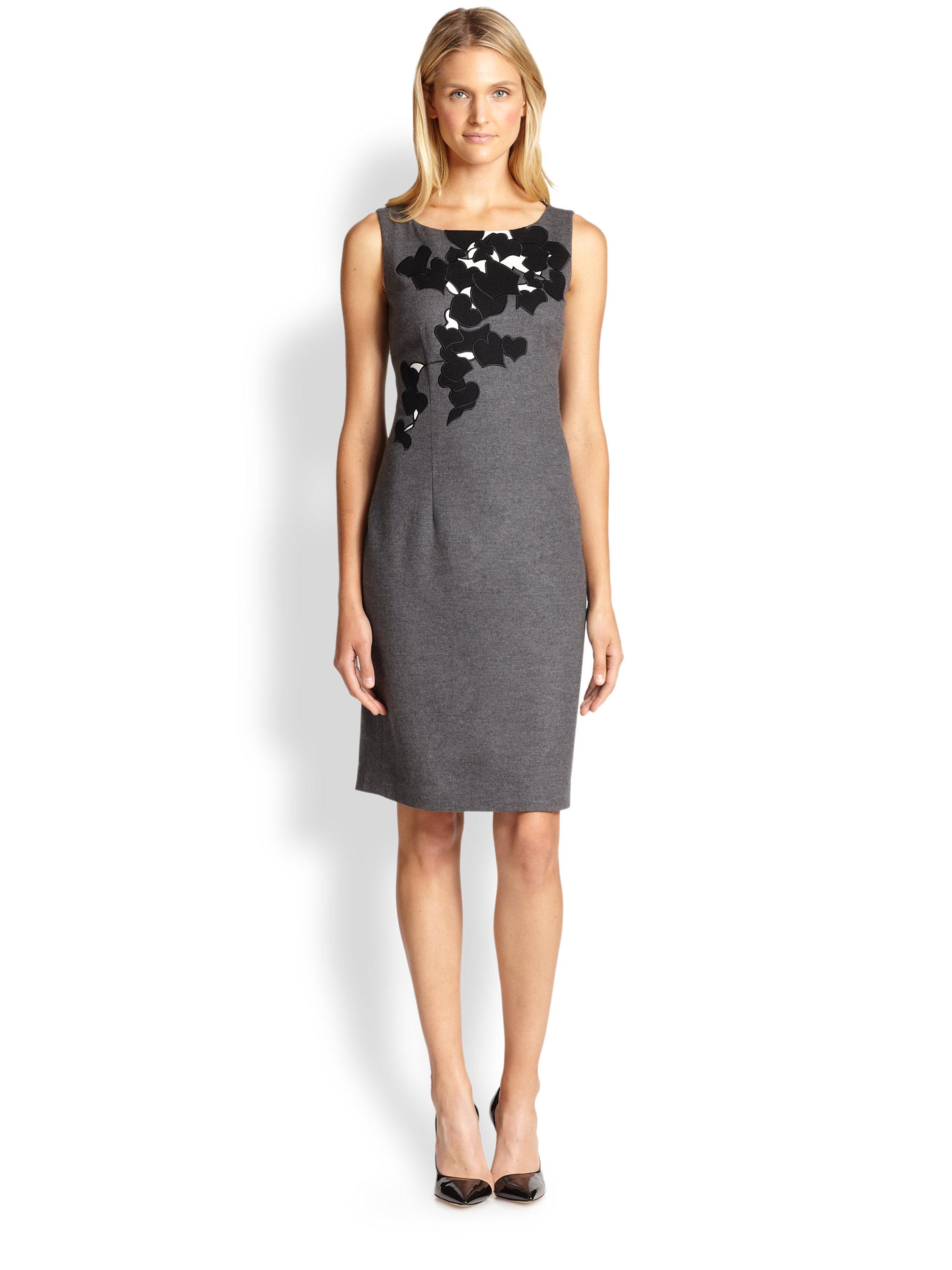 Boss By Hugo Boss Dinoma Floral-Detail Dress in Gray ...