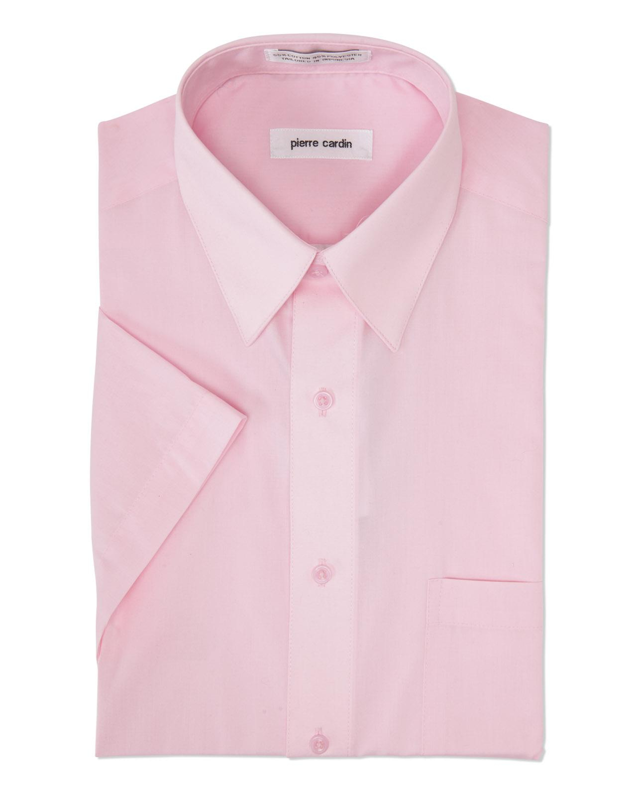 Pierre Cardin Pink Short Sleeve Dress Shirt In Pink For