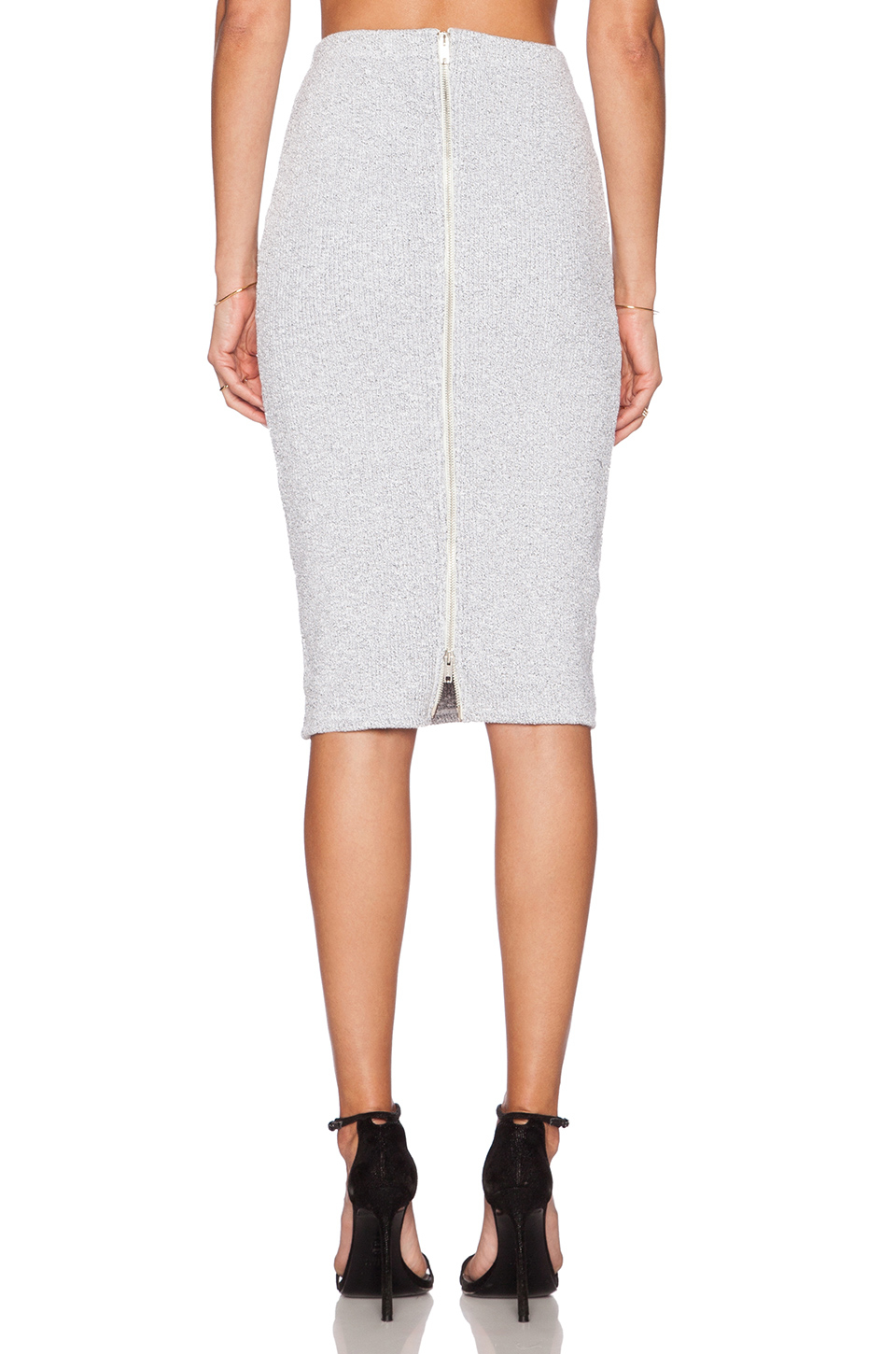 Lyst - Monrow Rib High Waist Pencil Skirt in White