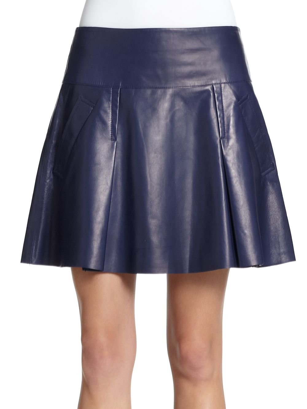 vince pleated leather skirt in blue lyst