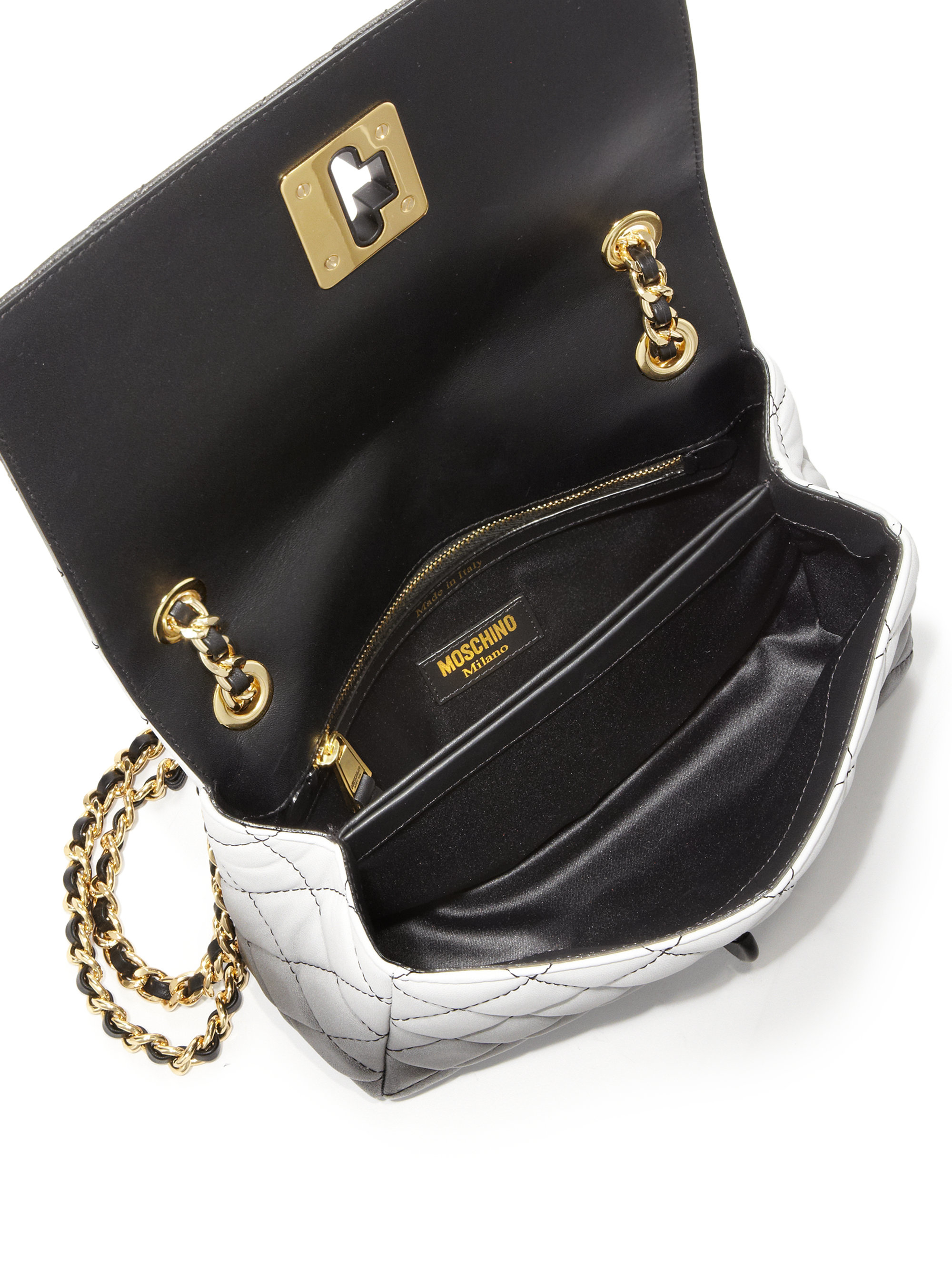 b2f906fab9 Moschino Small Dégradé Quilted Leather Shoulder Bag in Black - Lyst