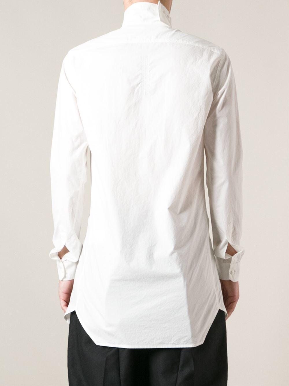 Rick Owens High Collar Shirt In White For Men Lyst