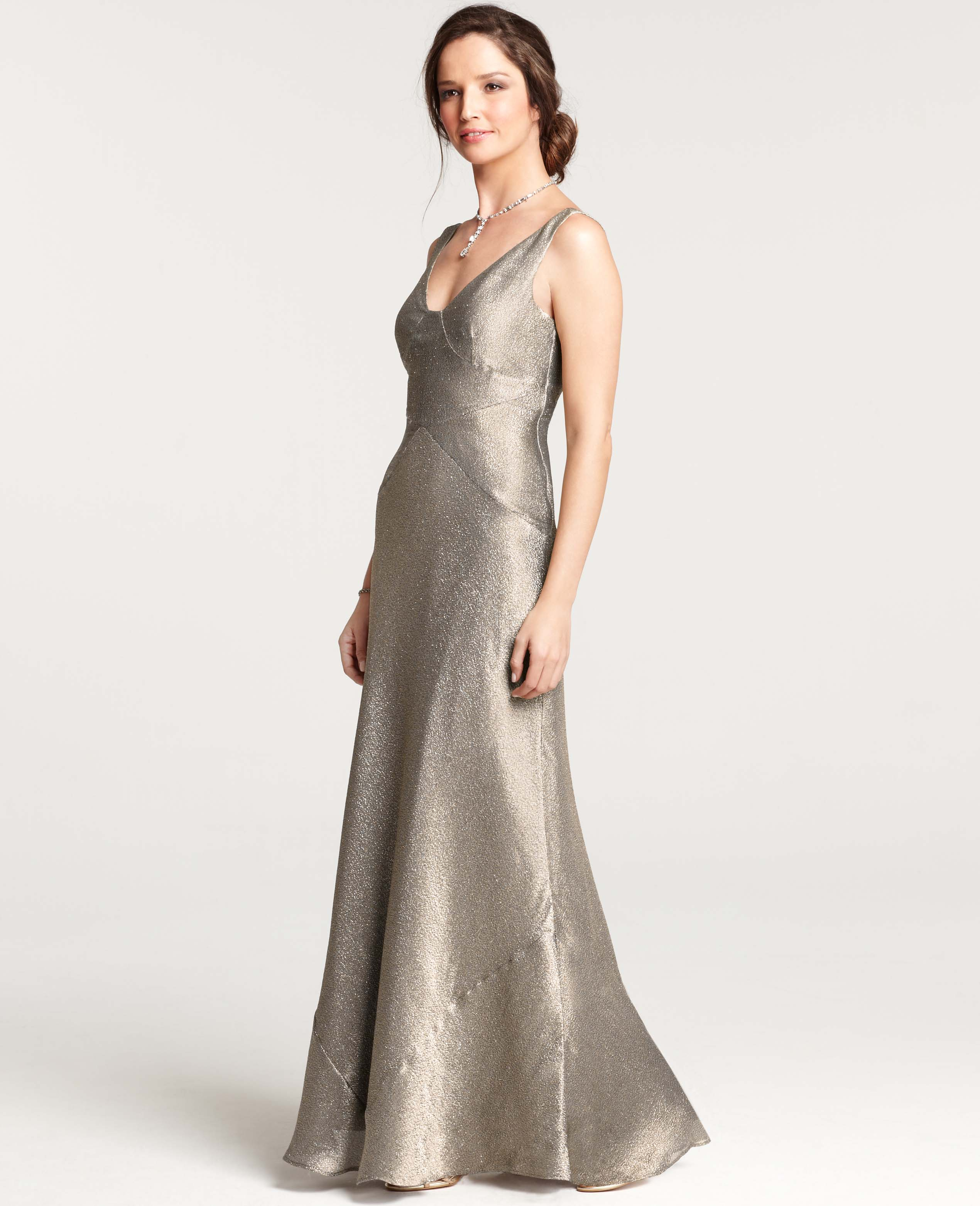 Lyst - Ann Taylor Gold Lame V-neck Gown in Metallic