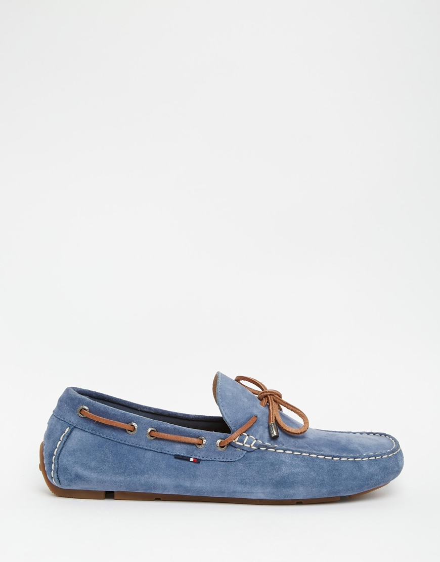 7c3266a0fd445 Lyst - Tommy Hilfiger Suede Monte Loafers in Blue for Men