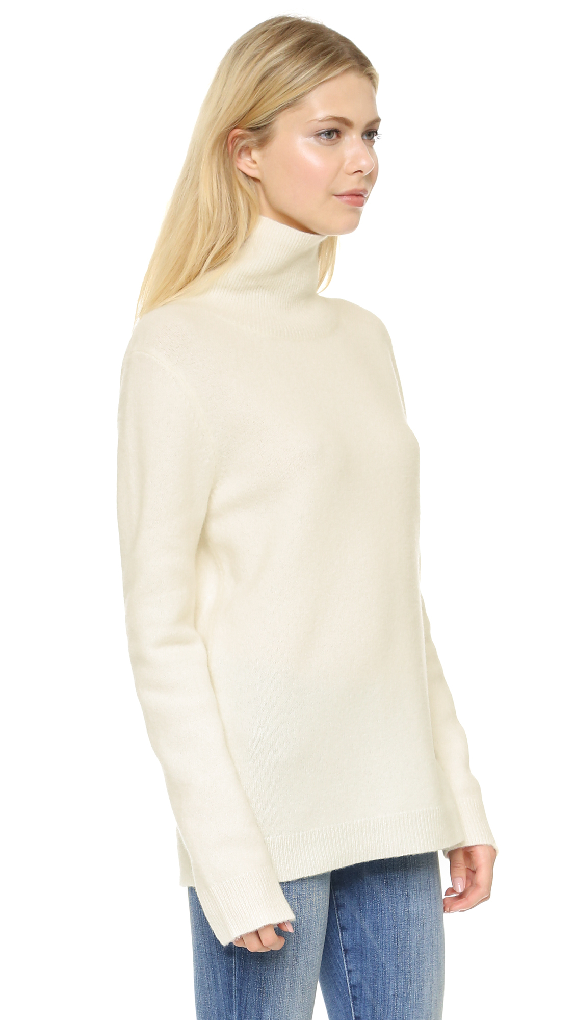 Dkny Long Sleeve Turtleneck Sweater - Ivory in White | Lyst