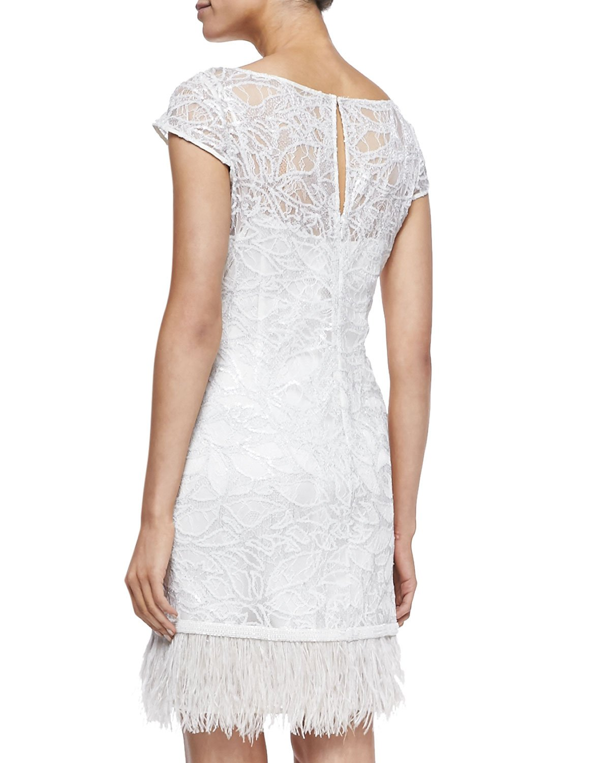 Lyst - Kay Unger Lace Overlay Cocktail Dress W/ Feather Hem in White