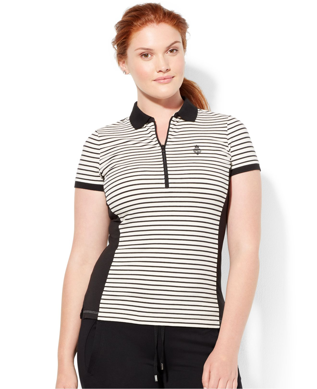 Lauren By Ralph Lauren Plus Size Striped Half Zip Polo