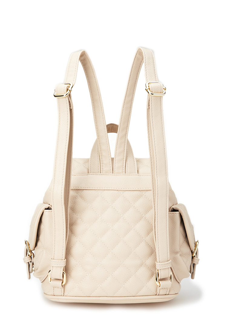 Lyst - Forever 21 Quilted Faux Leather Backpack in Natural : quilted faux leather backpack - Adamdwight.com