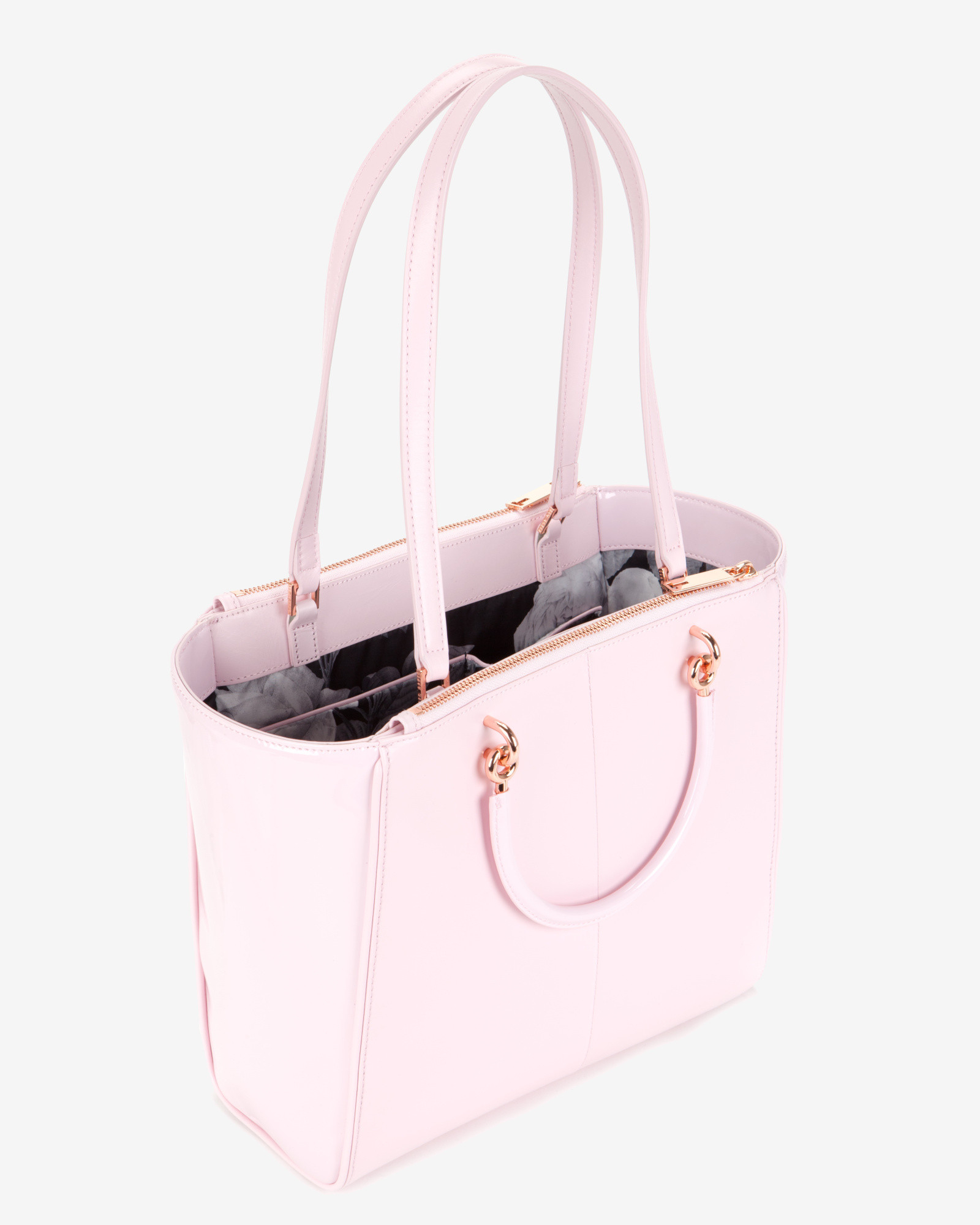 9ebfc3d0dfff Ted Baker Slim Bow Patent Shopper Bag in Pink - Lyst