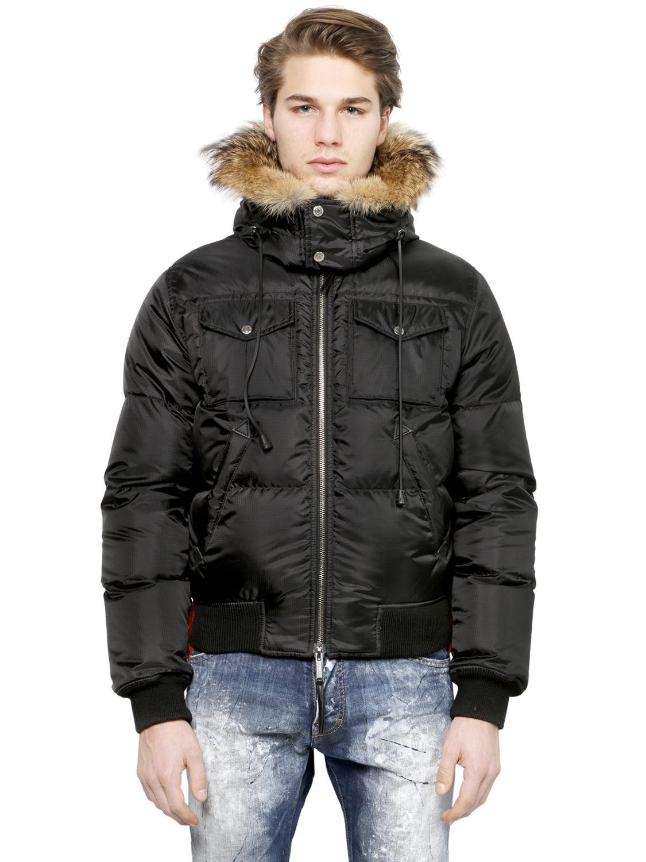 DSquared² Hooded Nylon Down Jacket in Black for Men