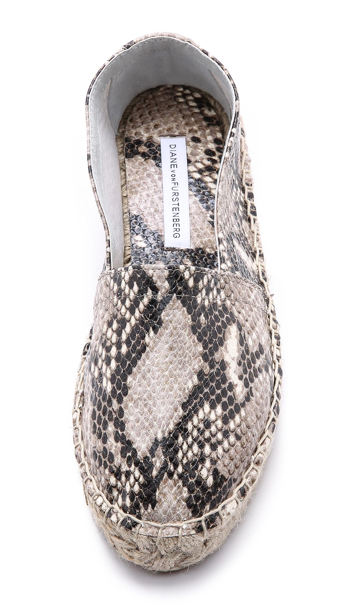Women/'s Shoes Diane Von Furstenberg TILLY Flat Espadrilles Slip On Leather BEIGE