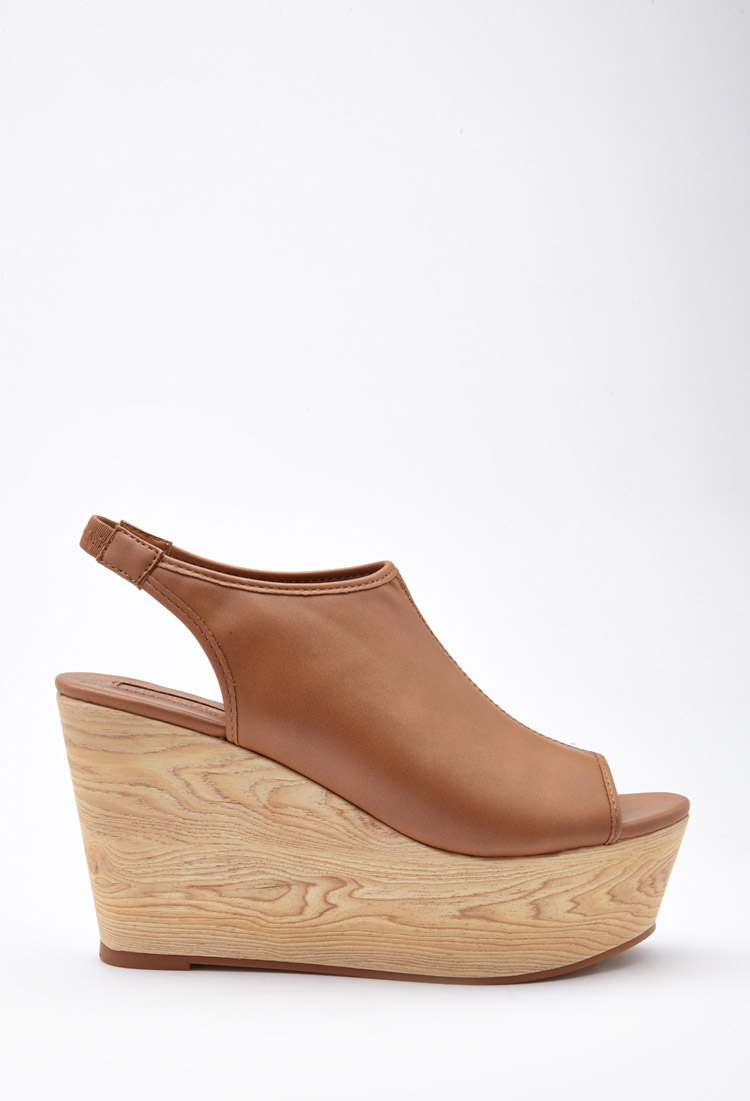 Lyst - Forever 21 Faux Leather Slingback Wedges in Brown