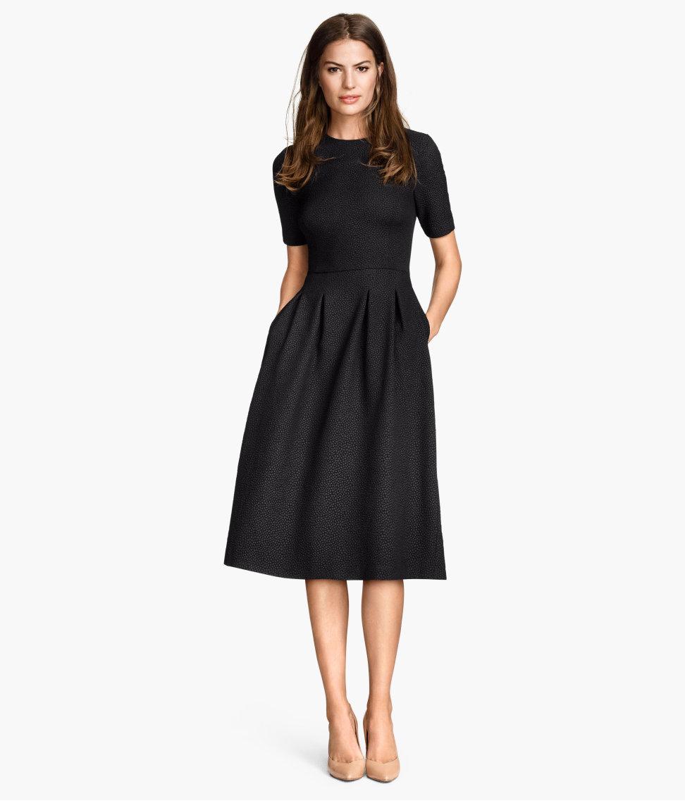 H M Textured Dress In Black Lyst