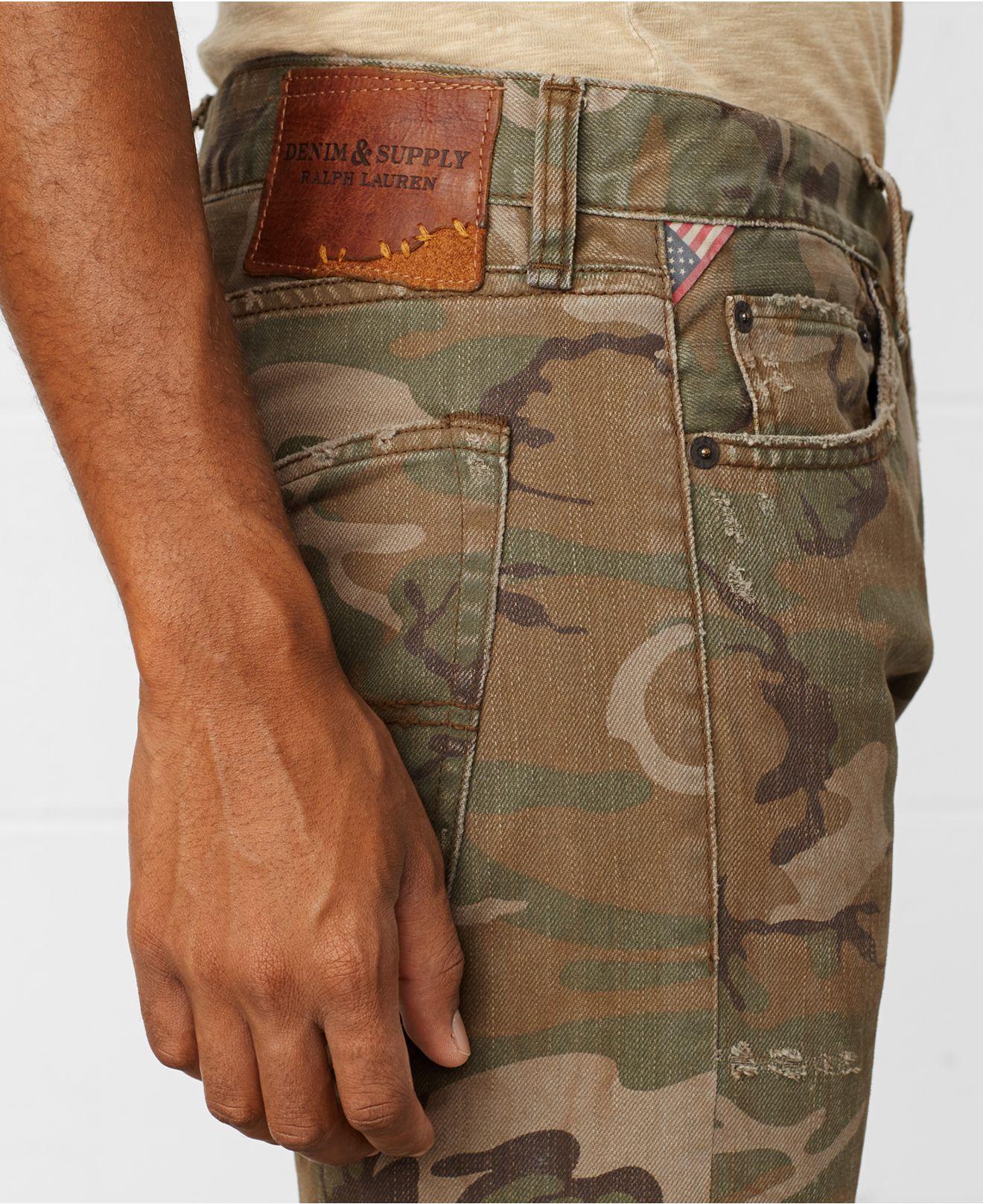 6e5164545 Denim   Supply Ralph Lauren Slim-Fit Camo Durham-Wash Jeans in Green ...