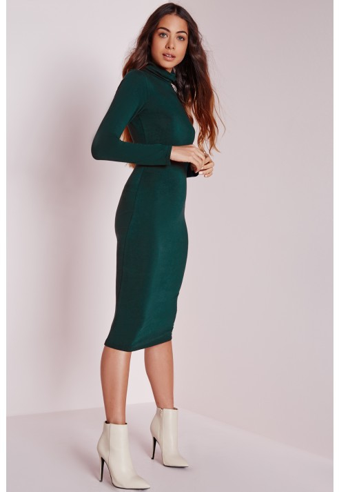 83478fe11a56 Lyst - Missguided Long Sleeve Roll Neck Jersey Midi Dress Forest ...