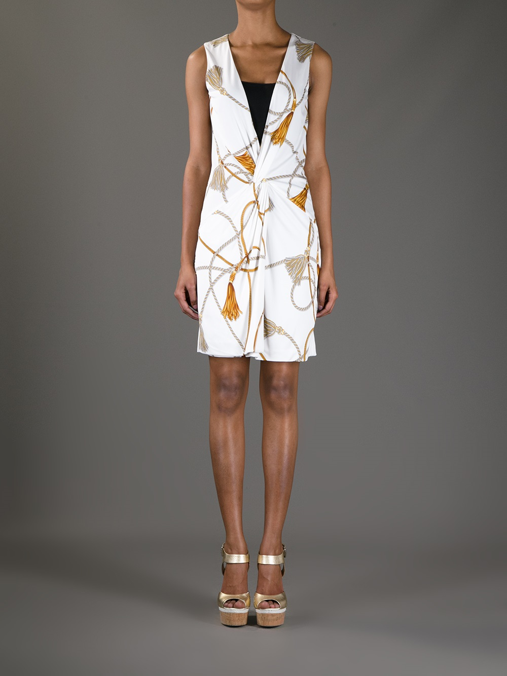 Gucci Rope Print Sleeveless Dress In White Lyst
