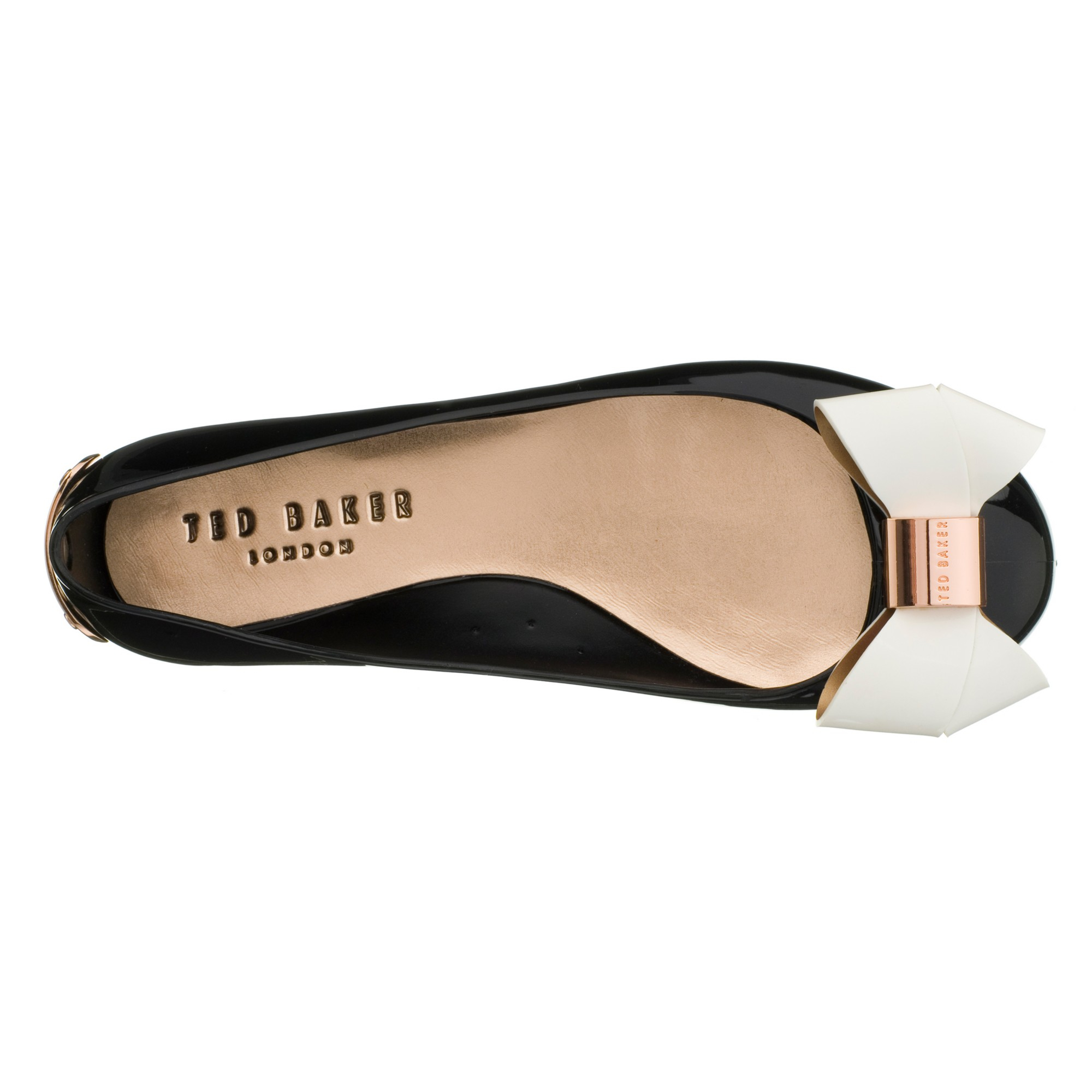 f3ebad38aa01 Ted Baker Faiyte Large Bow Jelly Flat Pumps in Black - Lyst
