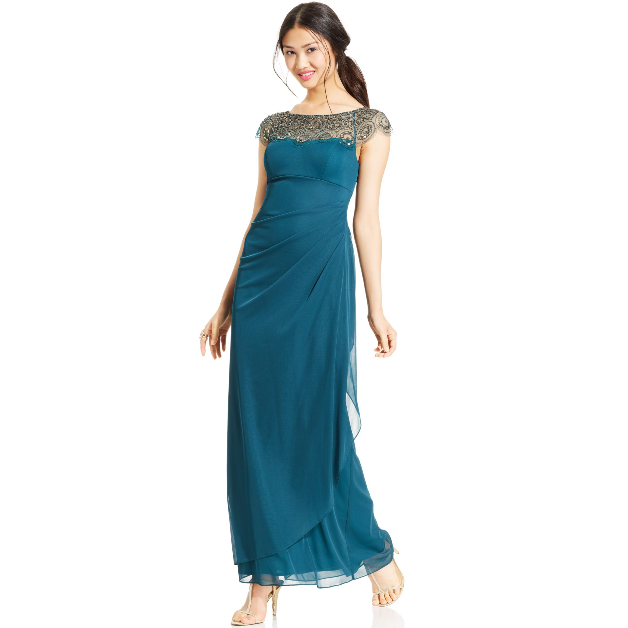 xscape cap sleeve illusion beaded gown in green